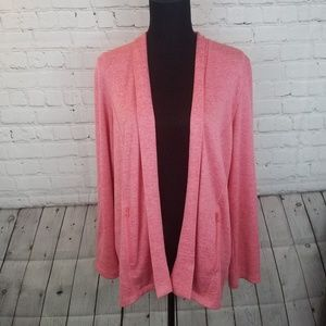 TALBOTS Pink Open Front Cardigan Sweater Large